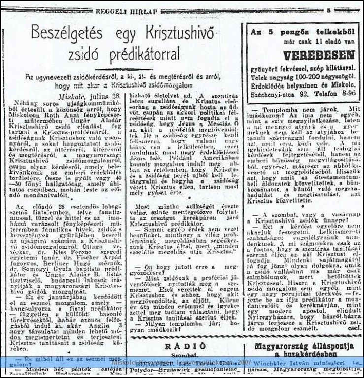 Újságcikk (Reggeli hírlap, 1933. július 28.)